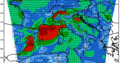 Mappa dei venti che si innescano in Italia e in Abruzzo il 18/19 Settembre 2011
